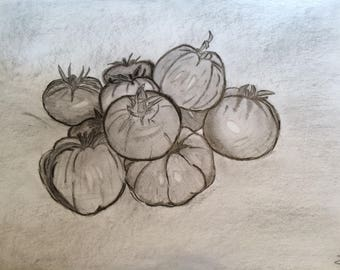 Made of tomatoes drawing with pencil and charcoal
