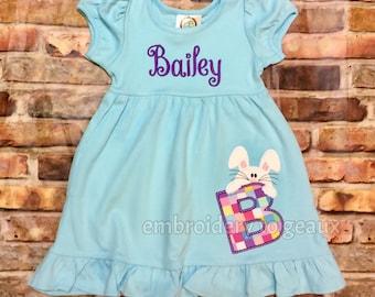 Personalized Easter Bunny Alphabet Dress, Monogrammed Easter Dress, Girls Easter Outfit, Toddler Girls Bunny Dress, Easter Bunny Dress
