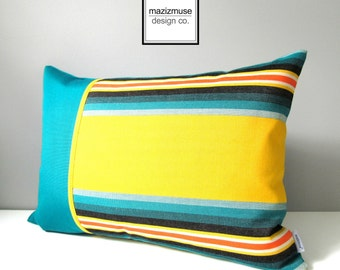 SALE - Striped OUTDOOR Pillow Cover, Modern Teal Pillow Cover, Retro Yellow Stripes, Decorative Pillow Case, Sunbrella Stripe Cushion Cover