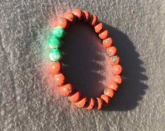 Peach and green beaded bracelet