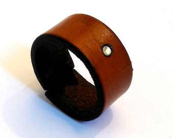 cognac leather and rhinestone ring