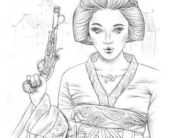 Steampunk Geisha - coloring page