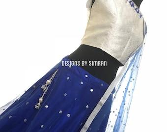CHAANDNI RAAT - A Silver White & Royal Blue Lehenga