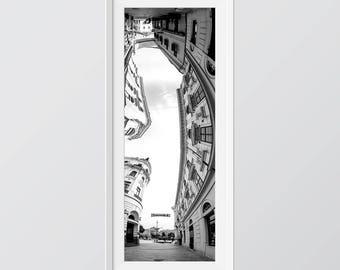 Cityscape, Pécs, Hungary. Vertical panorama photo.