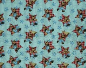 """Quilt, Baby, Featuring Raggedy Andy. Whole cloth cotton fabric. 40"""" x 48"""", Multi-color, Home-made."""