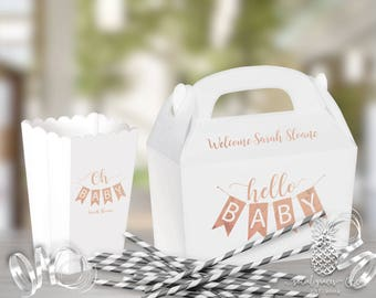Baby Shower Favor Boxes | Scalloped Popcorn Box or Gabble Box | Custom Foil Party Favors | Baby Pennant Banner | social graces and Co.