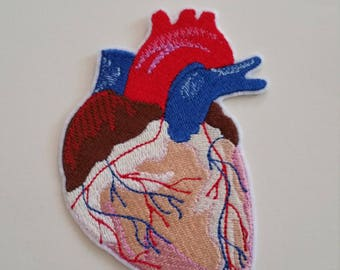 Anatomical heart iron on or sew on patchHeart sew on patc Heart embroidery 10 cm x 7.5 cm ( 3.94'' x 2.95'') heart patch Patch heart iron on