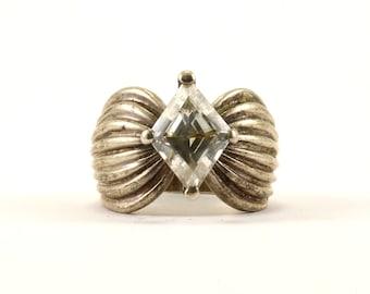Vintage Crystal Inlay Ribbed Ring 925 Sterling Silver RG 2726
