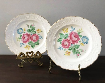 Pink Rose Plates / Wall Plates / Tea Party / Dessert Plates / 2 Spring Floral Plates / Vintage Stetson China / Bridal Shower  / Wall Flowers