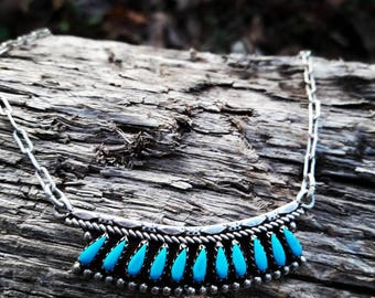 Vintage Sterling Silver Southwestern Needlepoint Turquoise Necklace
