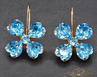 Swarovski Crystal Earrings Statement Earrings Bridal Earrings Bridesmaid Gift Flower Earrings Drop Earrings Gift for Her Wedding Jewelry