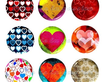 Set of 9 glass 20mm, round, heart cabochons