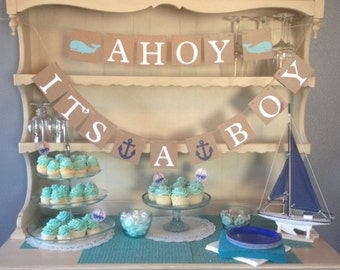 Ahoy Itu0027s A Boy Baby Shower Banner, Nautical Theme, Baby Shower, Whales, Baby  Shower Decorations, Nursery Decoration, Baby Room , Photo Prop