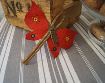 Closing red and Brown Dragonfly brooch