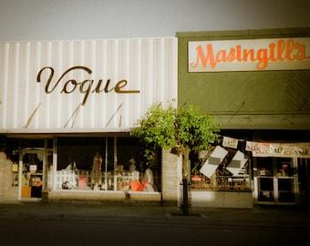 Retro Photography storefront urban decay ghost town facade fashion vogue masingill green orange - The modern woman - square fine art photo