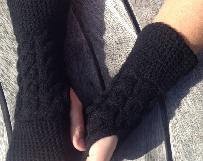 Black Cashmere gloves, cashmere wrist warmers, cashmere fingerless mittens by Willow Luxury (one size)