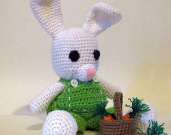 Amigurumi Bunny, Crocheted Bunny doll, dressable, White Bunny Rabbit, green overalls with basket of carrots