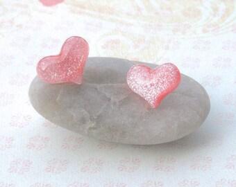 Pink Heart Earrings, Valentine's Day Earrings, Lavender Heart Earrings, Heart Earrings, Glitter Heart, Heart Jewelry