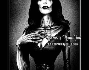 Vampira, Gothic, Zombie Pinup ,Pinup, dark Art Print by Marcus Jones