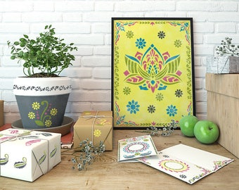 Indian Stencils Set - Lotus DIY Painting Stencils Kit - Stencils Kit