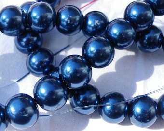 50 glass Pearl blue hard france 8 mm beads