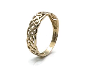Celtic Knot Ring, Gold Celtic Ring, Celtic Twist Ring, Gold Twist Ring, Celtic Knot Band, Twist Ring, Braided Ring, Woven Ring, Twisted Band