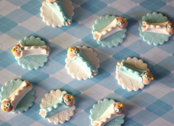 Fondant Cupcake Toppers Whimsical Boy Baby Shower Fondant