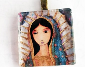 Virgen de Guadalupe - Original Small Glass Tile Pendant  by FLOR LARIOS ART