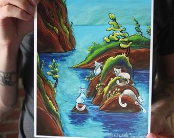 Cat Island in the Ocean; Fine Art Print