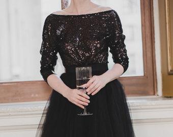 Black Sequins Bodysuit