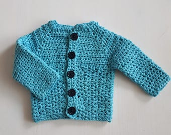 Sturdy crochet cardigan for baby boy.