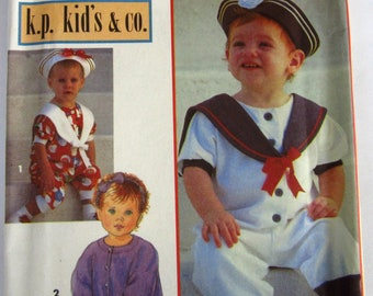Toddlers Sailor Style Romper, Hat and Headband Sizes 2 3 4 Vintage 1990s Simplicity Pattern 8512 UNCUT