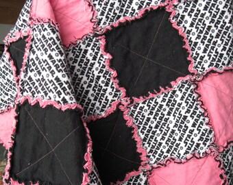Pink and Black Star Wars Rag Quilt