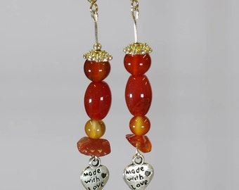 Carnelian, stone of the angry, pearl earrings 6.8 mm barrel and chips, coaur silver Tibetan alloy setting.
