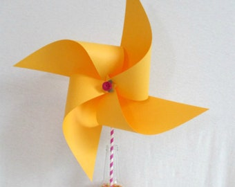 Wedding Decoration Yellow Pinwheel Birthday Decorations Baby Shower Decor Extra Large Pinwheel Birthday Party Table Centerpiece