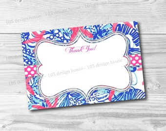 Lilly Pulitzer Thank You Card Printable 4x6 - She She Shell Thank You Card - INSTANT DOWNLOAD Thank You Card