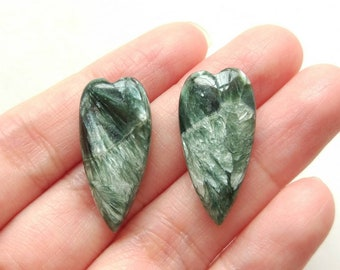 A+ Grade Seraphinite Half Top drilled Elongated Heart Drops 12x25x6 mm One Pair J7107