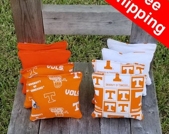 "FREE SHIPPING! Tennessee Volunteers set of 8 corn hole bags, top notch quality: 6"" regulation size!"