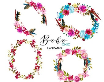 Pink Floral Boho Chic Wreaths Clip Art Watercolor Flowers  Roses Peonies Clipart Set Digital DIY Invitation Frames PNG Nursery