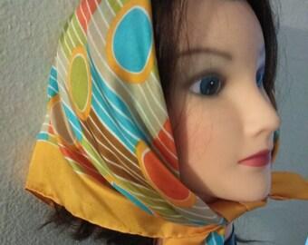 Colorful Silk Neckerchief. Art Deco Vintage Bandana. Circles and Stripes Handkerchief.