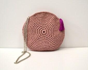 Crochet crossbody bag, circle bag,