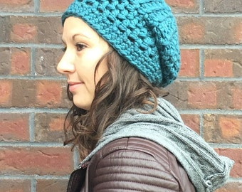 Teal Slouch Hat - Blue Slouch, Slouchy Beanie - Crochet Slouch Hat - Winter Slouch Hat - Winter Hat - Women's Hat