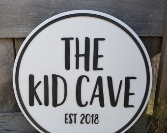 The Kid Cave Wall Hanging - Playroom Decor - Wooden Name Round - Personalized Wood Round - Wall Hanging - Kids Room - Painted Wall Hanging