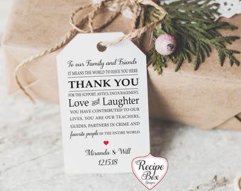 To Our Family and Friends Thank You Wedding Favor Tags, Cards, Place setting Notes Thank you tags, 20-300 (No Strings)