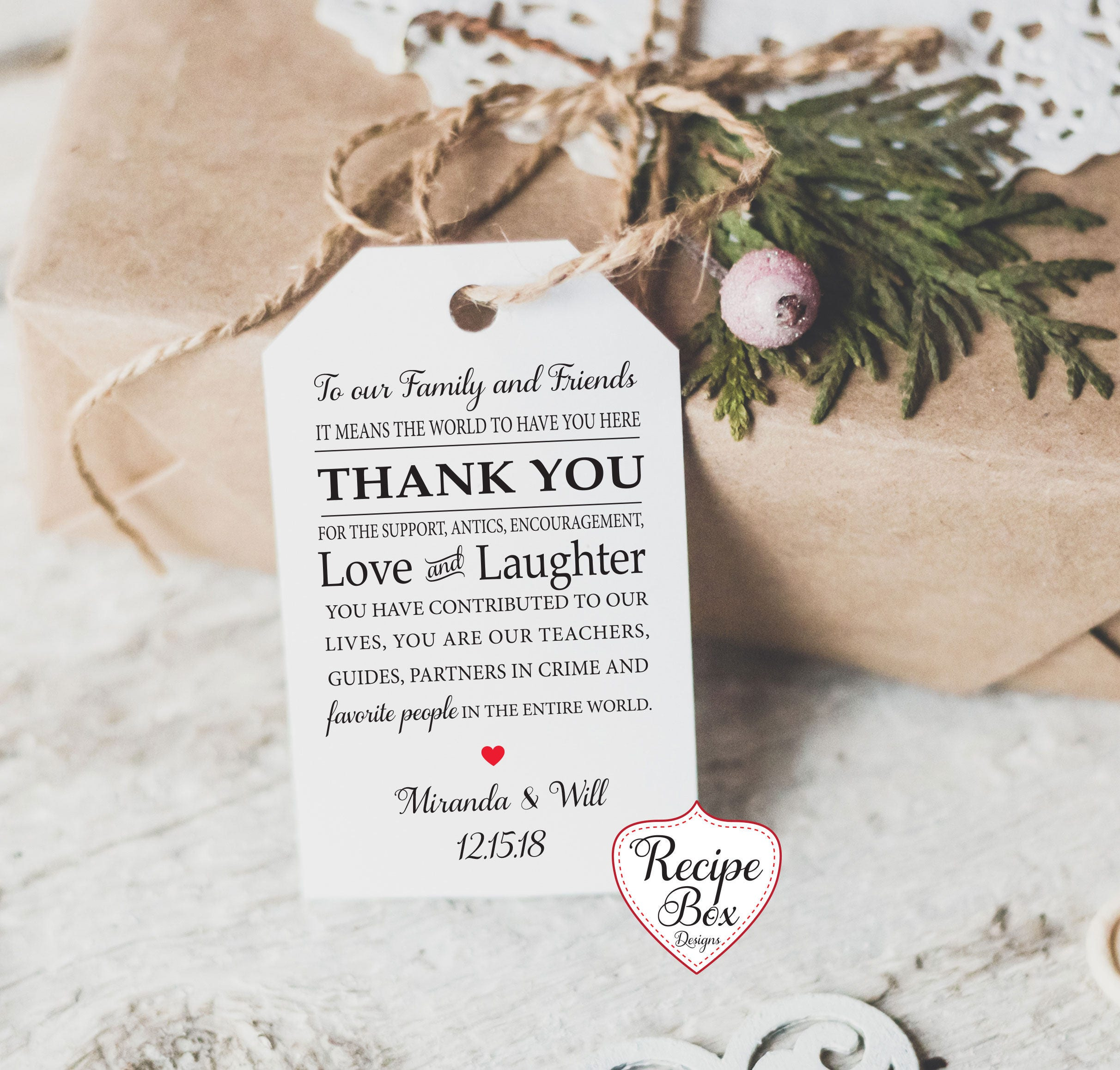 To Our Family and Friends Thank You Wedding Favor Tags Cards