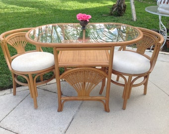 VINTAGE RATTAN DINETTE Set / Oval Table with 2 Chairs/Compact Dining table Set /Small Rattan Bamboo Dining Table and chairs Retro Daisy Girl