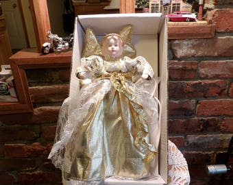 Vintage Angel Tree Topper, Moving Angel Tree Topper, Angel, Christmas Angel, lighted Angel, Christmas décor, Morethebuckles