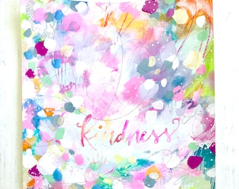 Kindness painting on paper with silver foil accents / 8x8 inch paper original painting / colorful home decor / Kindness art / Be Kind