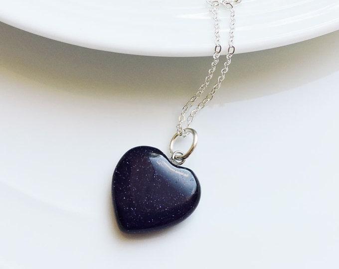Dark Blue Sandstone Heart Shaped Semi-Precious Gemstone Pendant on Silver Snake Chain Necklace - Midnight Blue/Black Stone Glitter Sparkle
