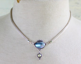 STERLING Blister Pearl Native American QT Signed Necklace 925